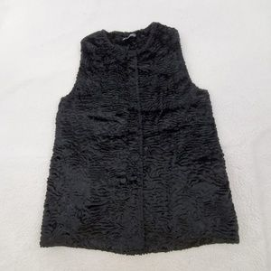 Adrianna Papell Vest M Black Faux Fur Sweater Slee